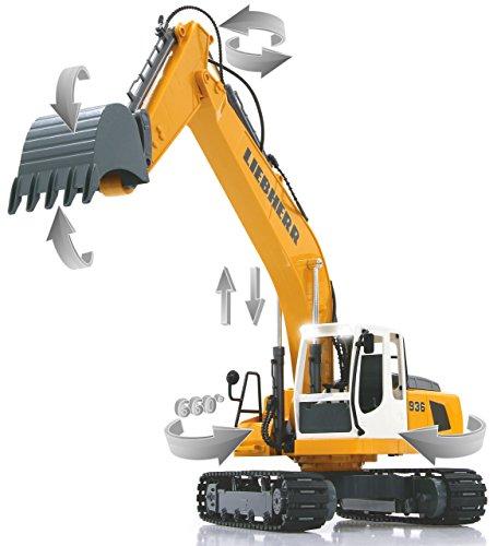 RC Auto kaufen Baufahrzeug Bild 2: Jamara 405060 - Bagger Liebherr R936 1:20 2,4G - realistische Funktionen (entladen/ aufladen), jedes Gelenk einzeln steuerbar, 660 ° Turmdrehung, Metallschaufel, Motorsound, Hupe, Rückfahrwarnsound*
