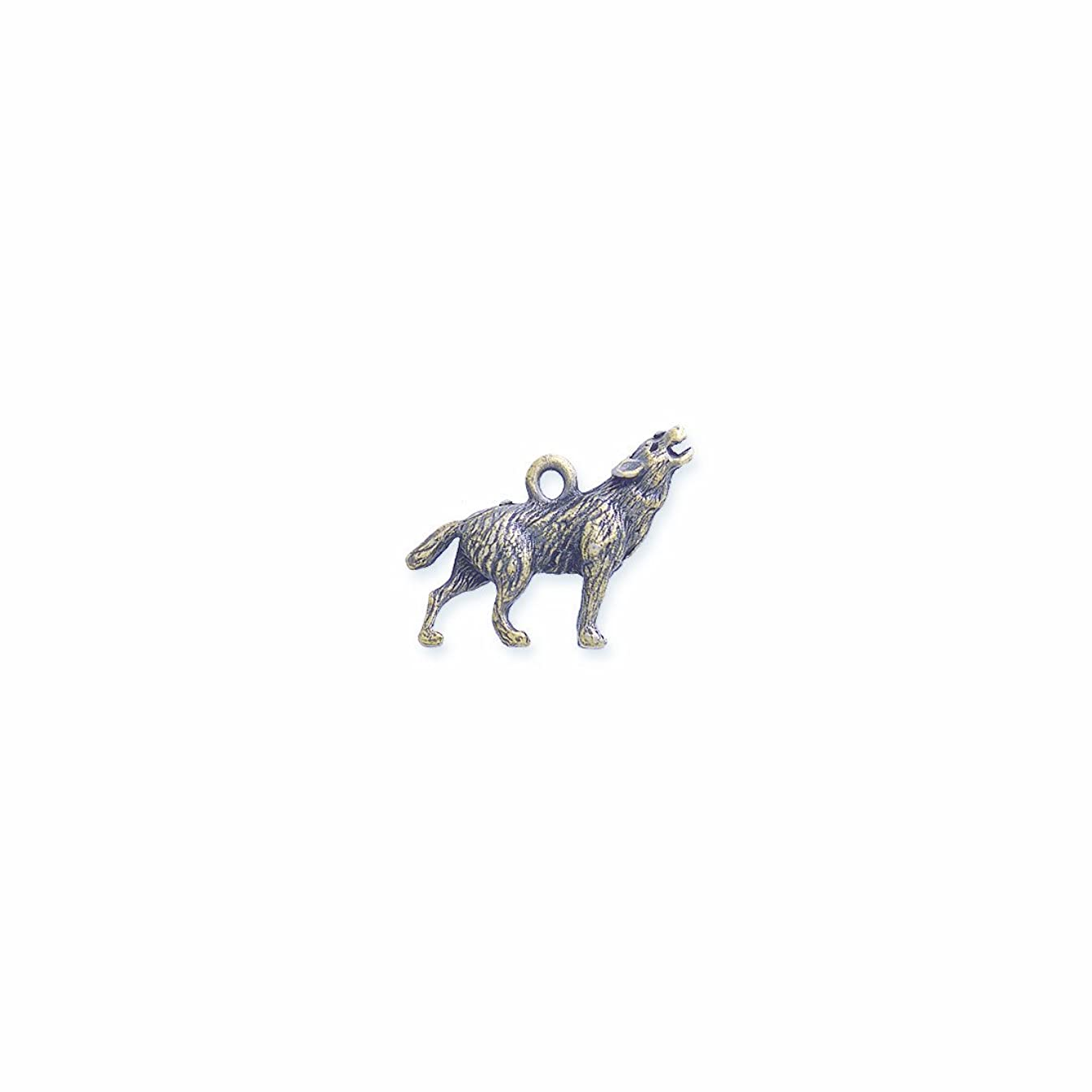 Shipwreck Beads Pewter Coyote Wolf Charm, Antique Brass, 20 by 24mm, 2-Piece