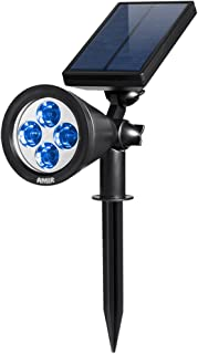 AMIR 2 in 1 Solar Spotlights, Upgraded Solar Garden Lights Outdoor, Waterproof 4 LED Landscape Lighting, Adjustable Solar Wall Lights with Auto On/ Off for Yard Driveway Pathway Pool Tree Patio (Blue)