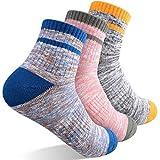 Women's Hiking Walking Socks, FEIDEER Multi-pack Outdoor Recreation Socks Wicking Cushion Low Cut Ankle Quarter Socks(3WSS18103-L)