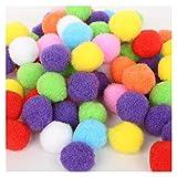 JINSUOZY DXXLD Hot 100-500 piezas/lote mezclado suave redondo pompón bolas esponjosas Pom Pom Pom Kids DIY Prendas artesanales 10 mm/15 mm/20 mm/25 mm/30 mm (color: 25 mm 100 piezas)