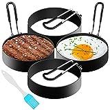 Egg Ring, 4 Stück Edelstahl Pancake Form, 7,6 cm Rund Spiegeleiformen Antihaft, zum Spiegelei, Pfannkuchen, Omeletts