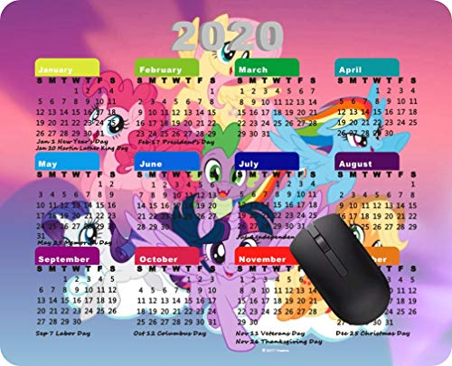 2020 Calendar Mouse pad Gaming Mouse pad Office Mousepad Nonslip Rubber Backing-My Little Pony Mane six on Clouds