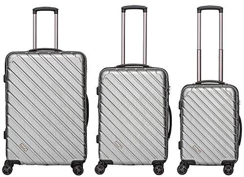 Packenger Kofferset - Vertical - 3-teilig (M, L & XL), Silber-Metallic, 4 Rollen, Koffer mit TSA- Schloss und Erweiterungsfach, Hartschalenkoffer (Polycarbonat), glänzend