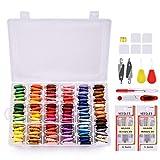 Hilo de bordado, MS.DEAR Kit de inicio de bordado con Organizador Caja de almacenamiento, 108 Colores Hilo de algodón, Hilo de bordado de hilo y Kit de herramienta de punto de cruz- 148 piezas