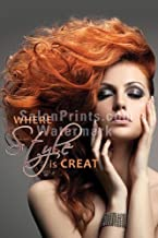 Global Printing Services Hair Salon Poster - Beautiful Model Red Hair Gray Background Quote Poster || HSD-104 (36in x 54in, Poster (Polymatte))