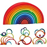 Rainbow Stacking Toys, WOOD CITY 12-Piece Rainbow Stacker, Waldorf & Montessori Toys for Toddlers, Lovevery Wooden Building Blocks Puzzle for 2 3 4 5 Years Old Boys Girls