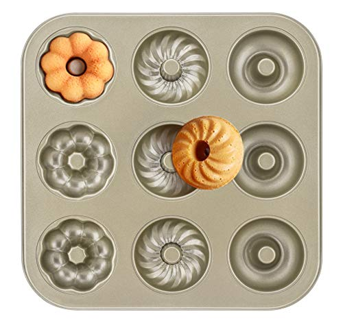 ilauke Doughnut Mould Non Stick Coating 9 Holes Carbon Steel Baking Tray for Cake Biscuit Bagel Sandwich Muffin 10.2X10.2 Inch