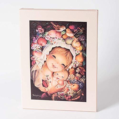 Virgen frutos 30x40cm. Ilustración de Juan Ferrándiz impresa en lienzo. Serie limitada y numerada. Regalo Comunión y Bautizo