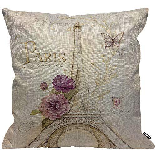 HGOD DESIGNS Kissenbezug Eiffel Turm Tower Vintage Brief Paris Eiffel Turm Mit Blume Schmetterling Kissenhülle Haus Dekorativ Jungen/Mädchen Wohnzimmer Schlafzimmer Sofa Stuhl Kissenbezüge 45X45cm