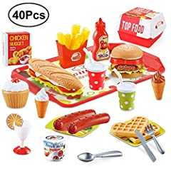 🍔Rich varieties of realistic fast food playset includes an American style hamburger, a sturdy tray, a mouthwatering hotdog, tasty desserts, heart-shaped waffles, tomato ketchup, French fries, Chicken nuggets, cutleries…etc. 40 pieces altogether. 🍔Ass...