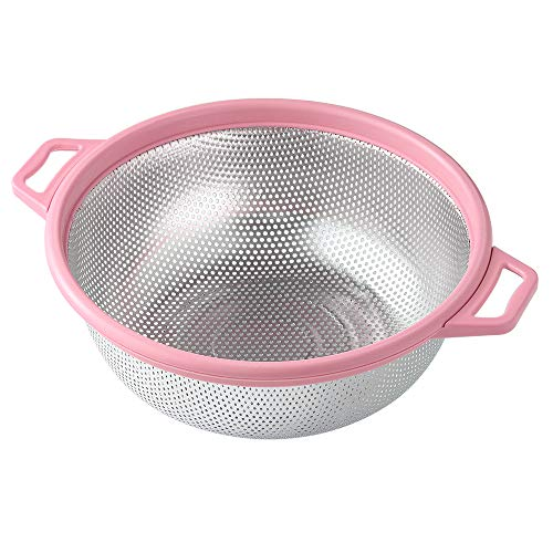 """Stainless Steel Colander With Handle and Legs, Large Metal Pink Strainer for Pasta, Spaghetti, Berry, Veggies, Fruits, Noodles, Salads, 5-quart 10.5"""" Kitchen Food Mesh Colander, Dishwasher Safe"""
