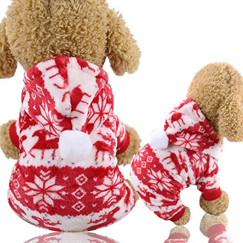 HJFDEW Ropa de Navidad para Perros, Mono de Lana, Ropa de Invierno para Perros, Ropa clida para Perros de Cuatro Patas, Ropa para Perros pequeos, Ropa de Disfraz de Estrella
