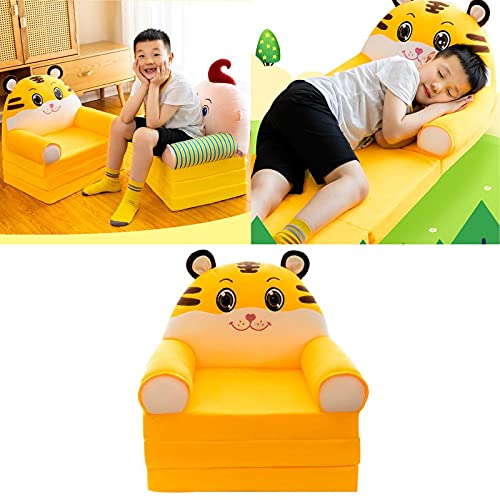 Plush Foldable Kids Sofa Backrest Armchair, Cute Cartoon Lazy Sofa, Removable and Washable Children Sofa Mini Chair, Children's Flip Open Sofa Bed for Living Room Bedroom Tiger