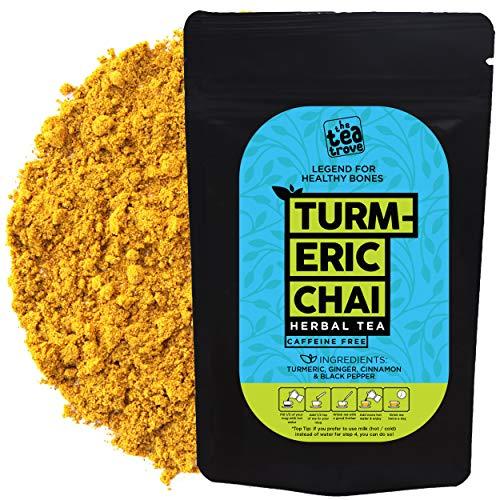 The Tea Trove - Herbal Turmeric Tea Chai, Golden Milk Tea Powder, Superfood Blend of Natural Turmeric Cinnamon Ginger Black Pepper for Sleep Overnight Detoax and Imunity, (75 Gm 60 Cups)