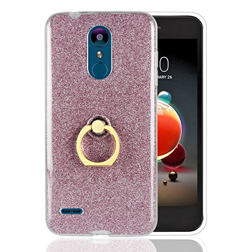 Sunrive Custodia per LG K9, Trasparente Custodia Cover TPU con 360 Gradi di Rotazione dell'anello Cavalletto + Carta Ultra Sottile Glitter Sparkle Bling Bling(Porpora)