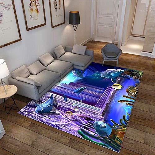 CHENGL Unterwasserwelt Kinder Teppiche Weiche Flanell 3D Gedruckt Teppiche Salon Ozean Matte Teppiche rutschfest Große Teppich Teppich für Wohnzimmer Dekor,12,180 * 280cm