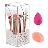Makeup Brush Holder Organizer with Lid, Dustproof Cosmetics Brush Storage, Acrylic Clear Brush Holder with Pearls
