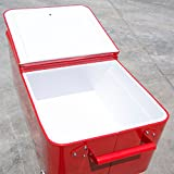 Outsunny 80 QT Rolling Cooler Ice Chest on Wheels Outdoor Stand Up Drink Cooler Cart for Party, Red