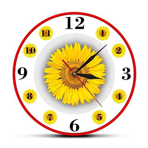 mazhant Girasol decoración del hogar Reloj de Pared Moderno Vida Simple Arte de Pared Inspirador Reloj de Pared Colgante Relojes Redondos Florales para Sala de estar-30X30cm