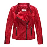LJYH Girls'Faux Leather Quilted Shoulder Motorcycle Jackets Red 3-4 yrs