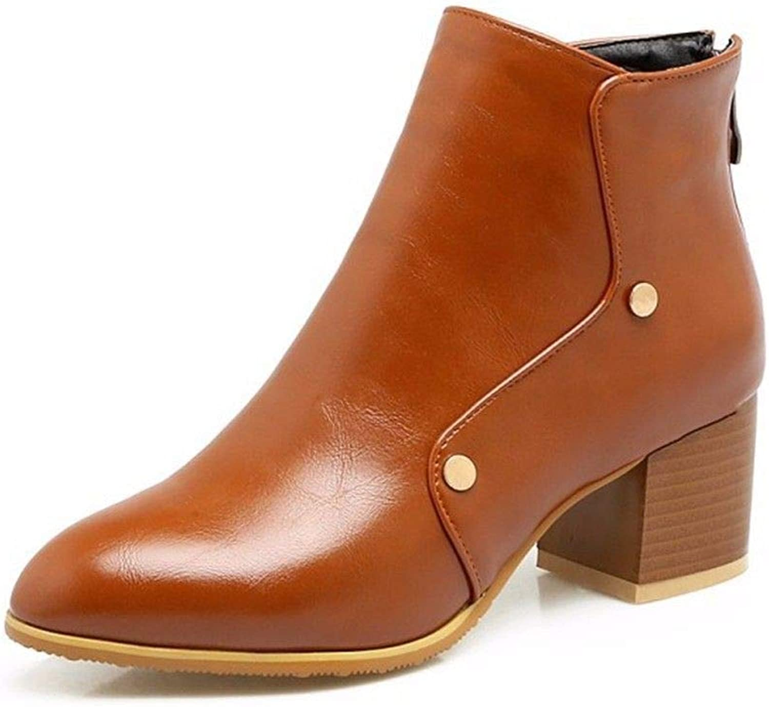 The Big Heel and Short Boots of The Heel Heel Lady in Autumn and Winter Pu