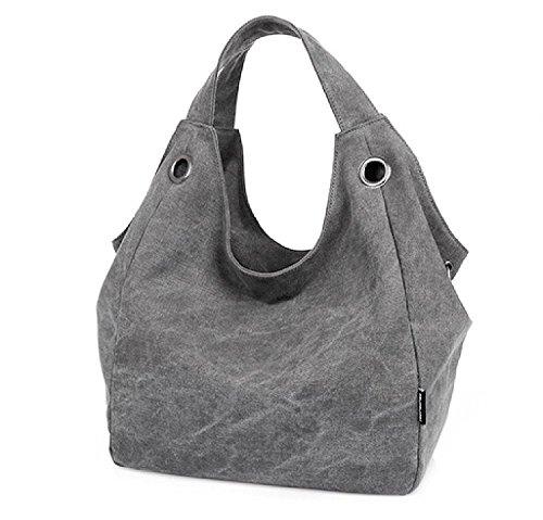 KISS GOLD Damen Schultertasche Canvas Totes Hobo Bag mit einfachem Stil, Grau