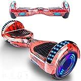 Magic Way Hoverboard - Bluetooth 6.5' - Motore 700 W - velocità 15 KM/H - LED - Overboard Elettrico autobilanciati - per Bambini e Adulti (Rosso Fuoco)