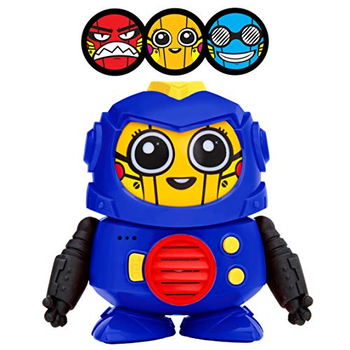 Power Your Fun Tok Tok Voice Changer Robot Toys - Mini Talking Robots for Kids with 3 Robot Voices and LED Faces for Ages 3 and Up, Blue