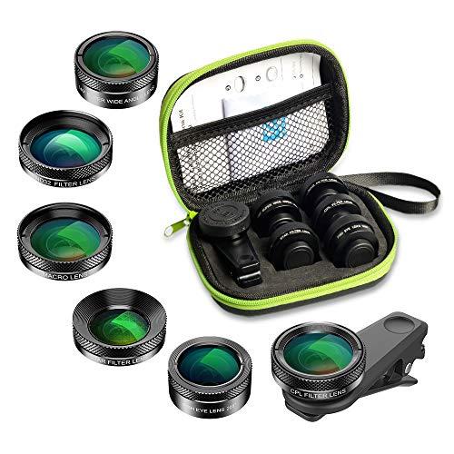 APEXEL 6 in 1 Handy-Objektiv-Kit, Super 205 ° Fischaugenobjektiv + 140 ° Weitwinkelobjektiv und 25x Makroobjektiv + Sternfilter + CPL/ND für iPhone Samsung und die meisten Smartphones