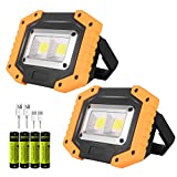 LED Work Light, 2 Pack OTYTY 2 COB 30W 1500LM Rechargeable Work Light, Magnetic Portable Waterproof LED Flood Lights for Outdoor Camping Hiking Emergency Car Repairing and Job Site Lighting