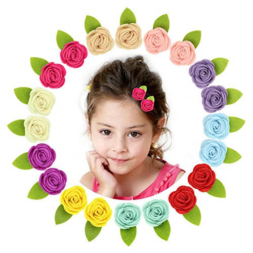 Beinou Felt Flower Hair Clips Mini Barrettes for Baby Girls Teens Hair Bows Alligator Clips, 20 pcs, 10 Colors