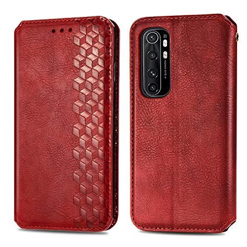Trugox Funda Cartera para Xiaomi Mi Note 10 Lite de Piel con Tapa Tarjetero Soporte Plegable Antigolpes Cover Case Carcasa Cuero para Xiaomi Mi Note 10 Lite - TRSDA120724 Rojo