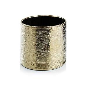 WGV Ceramic Cylinder Vase Width 6.5″ Height 6″ Elegant Unique Modern Matte Floral Container Planter Pot Centerpiece for Event Party Wedding Office Home Decor, Gold Textured 1 Piece