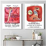 Mmpcpdd Marc Chagall Exposición De Pintura De Arte Abstracto Carteles E Impresiones Surrealismo Pintor Galería Cuadro De Lienzo De Pared Decoración De La Habitación del Hogar-50X70Cmx2Sin Marco
