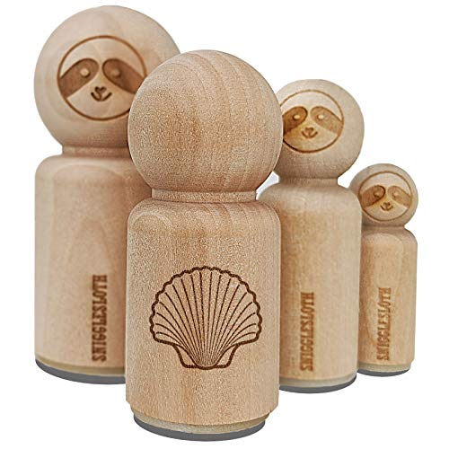 Scallop Seashell Beach Shell Rubber Stamp for Stamping Crafting Planners - 3/4 Inch Small