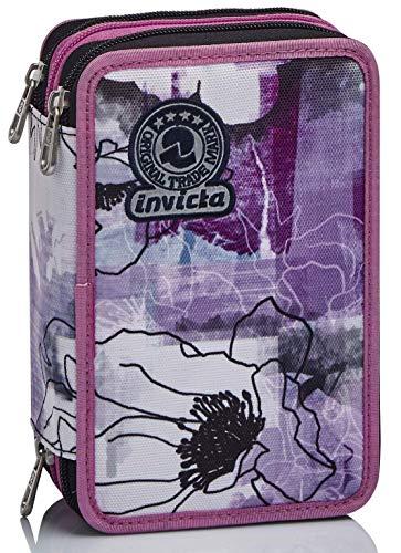 Astuccio 3 Scomparti Invicta , Paint & Flowers, Rosa, Completo di matite, penne,...