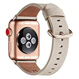 WFEAGL Compatible iWatch Band 38mm 40mm, Top Grain Leather Band with Gold Adapter (the Same as Series 4/3 with Gold Aluminum Case in Color) for iWatch Series 4/3/2/1(Ivory White Band+RoseGold Adapter)