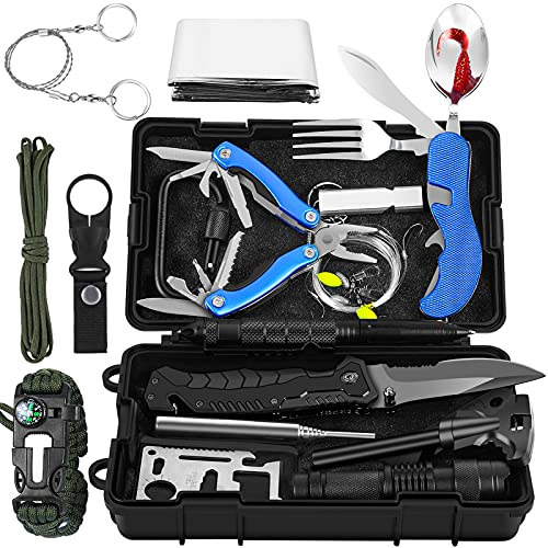 Tolaccea Outdoor Survival Kit 17 in 1, Premium Außen Notfall Set mit 54 Funktionen Messer Abenteuer Freien Bushcraft Wandern Jagden Camping Männer Vater Ehemann