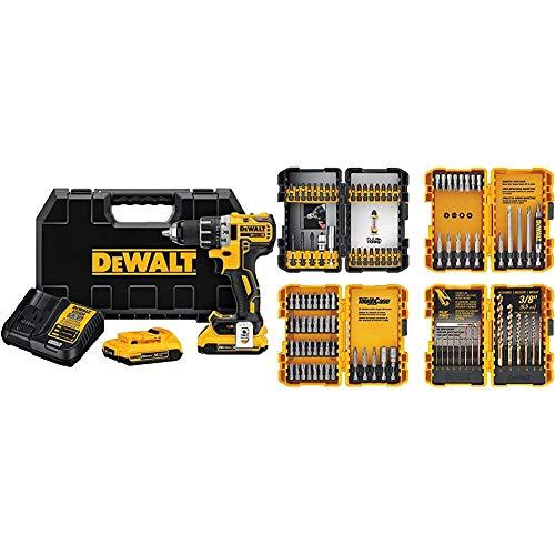 DEWALT 20V MAX Cordless Drill/Driver Kit, Brushless, 1/2-Inch (DCD791D2) & Screwdriver Bit Set/Drill Bit Set, 100-Piece (DWA2FTS100),Black/Grey/Yellow Screwdriving and Drilling Set, 100 Piece
