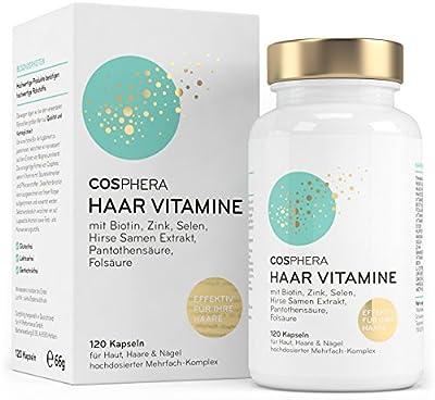 Cosphera Haar-Vitamine - Hochdosiert mit Biotin, Selen, Zink, Folsäure, Hirse Samen Extrakt - 120 vegane Kapseln im 2 Monatsvorrat - Haarkapseln für Männer und Frauen