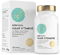 Cosphera Hair Vitamins - Högdos med biotin, selen, zink, folsyra, hirsfröextrakt - 120 veganska kapslar i 2 månader lager - Hårkapslar för män och kvinnor