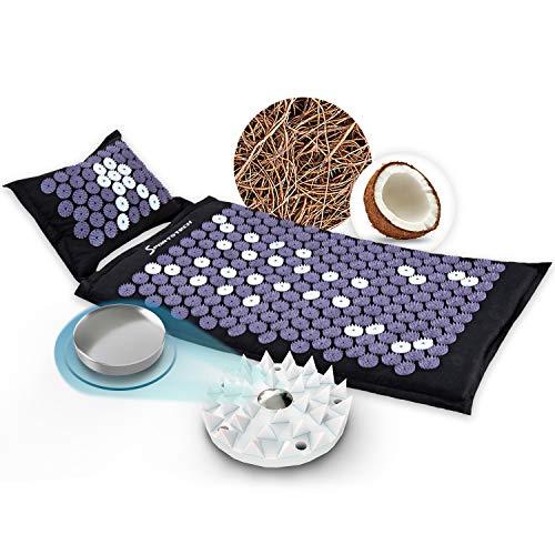 Sportstech Akupressurmatte AXM400 mit Kissen | ideal im Set Massage Matte + Akupressur als perfektes Geschenk für Frauen | für wohltuende Entspannung bzw. Durchblutung | inkl. Magnete