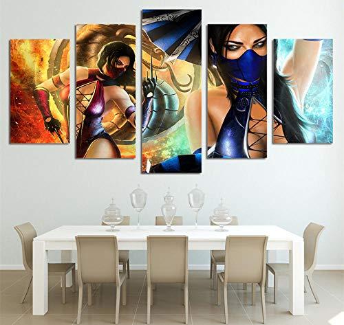 MSDEWLH canvasdruk 5 panelen schilderij Hd-Druckart Live-Fast-film masker vrouwelijke draak kamer decoratieve abstracte kunst lijst 100x55cm(40