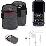 K-S-Trade® Gürtel-Tasche + Kopfhörer Für Cyrus cm 7 Handy-Tasche Holster Schutz-hülle Grau Zusatzfächer 1x