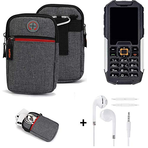 K-S-Trade® Gürtel-Tasche + Kopfhörer Für Cyrus cm 7 Handy-Tasche Schutz-hülle Grau Zusatzfächer 1x