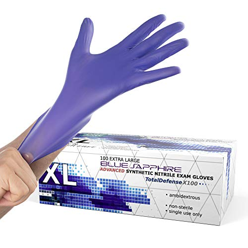 Powder Free Disposable Gloves X Large - 100 Pack - Nitrile and Vinyl Blend Material - Extra Strong, 4 Mil Thick - Latex Free, Food Safe, Blue - Medical Exam Gloves, Cleaning Gloves