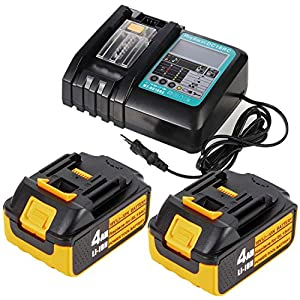 2 Stück 18V 4,0Ah Ah Ersatz-akku mit LED Schnellladegerät für Makita 18V radio DMR111 DMR112 für Makita BL1840 BL1830 BL1850 LXT400 (Ersatz DC18RC 3A 14,4V~18V Ladegerät)