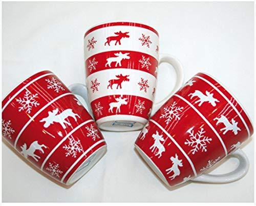 Glühweinbecher Kaffeebecher in bauchiger Form mit Elch/Rentier Motiv 300 ml 12 Stück