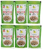 Brotos Assorted Instant Sprouts (Pack of 6, 1 Each- Moong, Moth, Mix, Chana, Lobia, Masoor) - Masala...